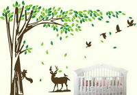 Large Squirrel Deer Bird Tree Vinyl Wall Sticker Kids Decals Nursery Baby Decor