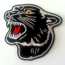 LARGE HUGE BIG BLACK TIGER PANTHER HEAD Embroidered Iron on Patch  Free Shipping