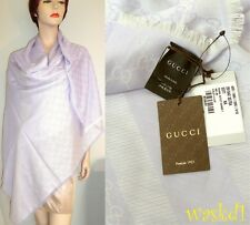 "GUCCI wool/silk Lavender/Ivory GG Giant 55""-square scarf PASHMINA shawl NWT Auth"