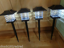 4 x Garden Solar Powered Lantern Post Stakes Light/Fence/Tree/Drive