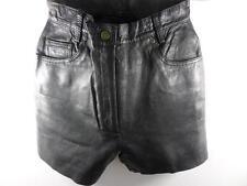 "Classic Woman Leather High Waist Shorts 10 W26"" Black GRADE A Sku No M494"