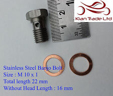M10 x 1.0 Metric Stainless Steel Banjo Bolt 22MM Long