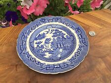 ANTIQUE ALLERTON BLUE WILLOW PLATE # 14 Asian Scenes Infrequent Scalloped 9""
