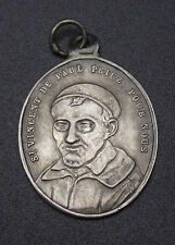 Ancienne médaille religieuse pendentif argent massif St Vincent de Paul XIXeme