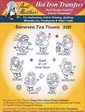 Snowmen for Tea Towels Aunt Martha's Christmas Embroidery Transfer #3951