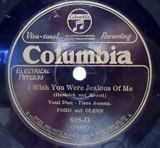 Ford & Glenn 78 RPM Record Wish You Were Jealous of Me Truly I Do Columbia 1928