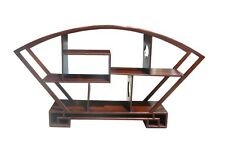 Chinese Medium Brown Fan Shape Display Curio Cabinet cs479