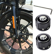 2x Chrome New Skull Front Axle Nut Cover Bolt Kit fit for Harley Touring Softail