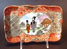 Nippon Satsuma Pin Dish Or Trinket Tray - Hand Painted Imari Style With Geisha