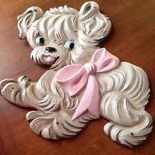 CUTE vtg Hand Carved Wood Painted Puppy DOG Molding For Baby Crib 1950s Cradle