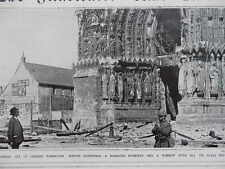 1914 RHEIMS CATHEDRAL SHELL DAMAGE VANDALISM WWI WW1