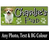 PHOTO & Personalised Dog name Sign plaque House kennel bowl lead bed gift