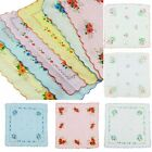 12 Pcs Lot Women Child 100% Cotton Flower Vintage Handkerchiefs Quadrate Hankies