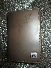 NEW* QUIKSILVER SURF LEATHER WALLET ID TRIFOLD Men's Boy's Brown $34 Retail