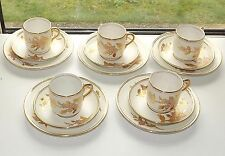 Royal Albert Crown China  1920s  5 Trios Pink Blosson & Gilt Cups Saucers Plates
