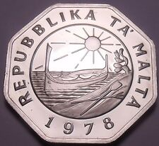 Huge Rare Proof Malta 1978 25 Cents~Only 3,244 Minted~Fantastic~Free Shipping~
