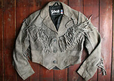 VTG SCHOTT GREY SUEDE LEATHER BOLERO STYLE FRINGED WESTERN JACKET BIKER UK 10/12
