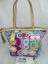 COACH F19434 USED/DIRTY/WORN OUT POPPY MULTI SIGNATURE POLYEST TOTE/SHOULDER BAG