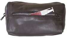Black Leather Combination Zipper Tobacco Pouch Lined with Vinyl - 7888