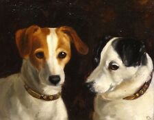 Fine 1902 English Portrait of Two Jack Russel Terrier Dogs Antique Oil Painting