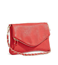 NWT GUESS Kristed Foldover Clutch Crossbody Shoulder bag Handbag Purse red
