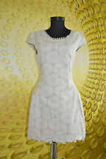 Women's Ladies Cocktail Party Formal Ivory Embroider Short Dress sz 16 XL AX11