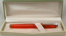Levenger True Writer Fireball Orange Transparent Fountain Pen - Fine Nib -New