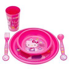 Hello Kitty 5 Piezas Rosa Alimentación Juego Plato Bol Taza & Juego de cubiertos