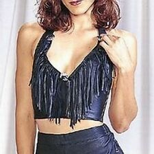 Black Leather Fringed w Concho Halter Top Motorcycle Biker Chick XS - 3X