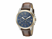 *NEW* MENS FOSSIL GRANT ROSE GOLD BROWN CHRONO BLUE LEATHER WATCH - FS5150