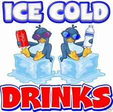 """Ice Cold Drinks Decal 14"""" Concession Restaurant Food Truck Vinyl Sticker"""