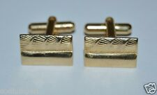 WOW Vintage Golden Rectangle Shells? Nautical Classic Men's Cuff Links Rare