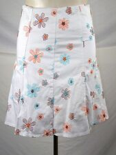 White Floral Embroidered Lined A-Line Skirt Womens Size Large 12 14
