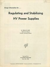 1962 reprint - Regulating and Stabilizing HV Power Supplies - Electricity  W4
