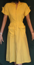 50s Sue Brett Vintage Yellow Cotton Short Sleeve Loop Button Dress B36