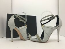 L.A.M.B. Bailey Light Grey Leather Women's Heels Sandals Size 7.5 M