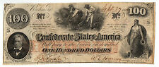 1862 CONFEDERATE STATES OF AMERICA $100 FR CS-41-ABOUT UNCIRCULATED-FREE US SHIP