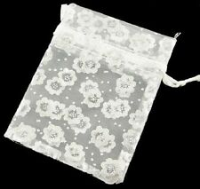20 x White Daisy Organza Pull tie Gift/Favour Pouches 7x9cm