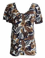 Womens Floral V Neck Short Sleeve Top Ladies Flower Print Baggy Top Plus Size