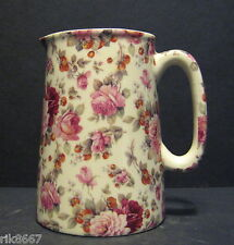 Heron Cross Pottery Strawberry Rose Chintz English 1/2 Pint Milk Jug