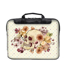 "TaylorHe 15.6"" 15"" Laptop Shoulder Bag Carry Case Handles Strap Floral Skull"