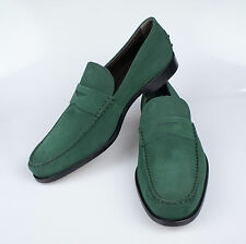 NIB. TOD'S Green Suede Leather Penny Loafers Casual Shoes 10 $550
