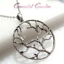 NL0359 Graceful Garden Antique Silver Tone Filigree Round Tree Pendant Necklace