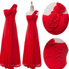 Long RED Chiffon Evening Formal Party Ball Gown Prom Bridesmaid Wedding Dress 12