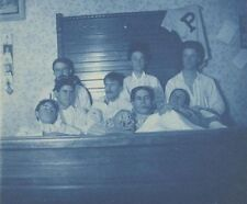 ORIGINAL PHOTOGRAPH OF EIGHT MEDICAL STUDENTS IN BED W/ SKULL   DEATH MASK
