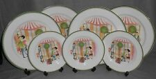 Set (7) International China AMOUR PATTERN Dinner Plates/Salad Plates POODLES