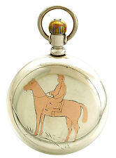 4 Oz. Coin 18-Size Case with Rose Gold Horse & Jockey Inlay Elgin Pocket Watch