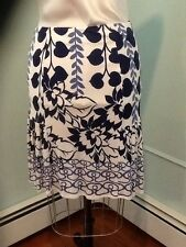 yigal azrouel floral print 100% silk jersey skirt in blue size 1/6