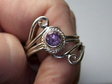 STERLING SILVER ESTATE PURPLE AMETHYST CYLINDRICAL SWIRL CABLE RING SIZE 8.75