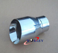 "2.5"" inlet Stainless round angle cut Exhaust Tip 5.5"" long 3.5"" outlet"